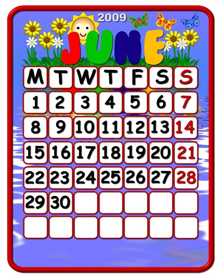 2009 календар июнь бесплатная иллюстрация