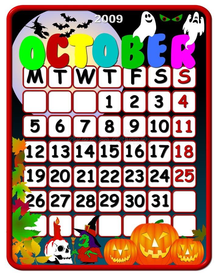 2009 календар октябрь иллюстрация штока