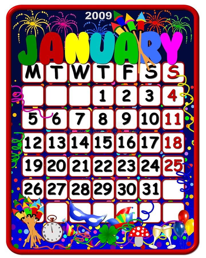 2009 календар январь бесплатная иллюстрация
