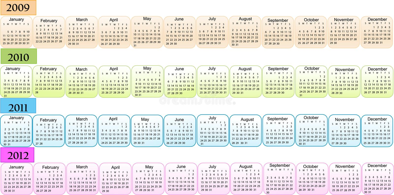 2009 2010 2011 2012个日历新年度 皇族释放例证