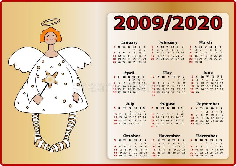 2009 2020 aniołów kalendarz ilustracja wektor