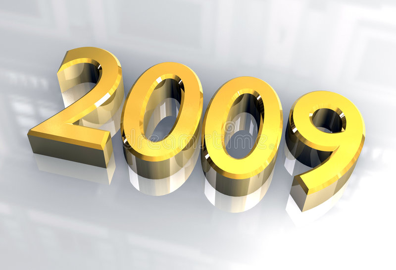 2009 3d金子新年度 向量例证