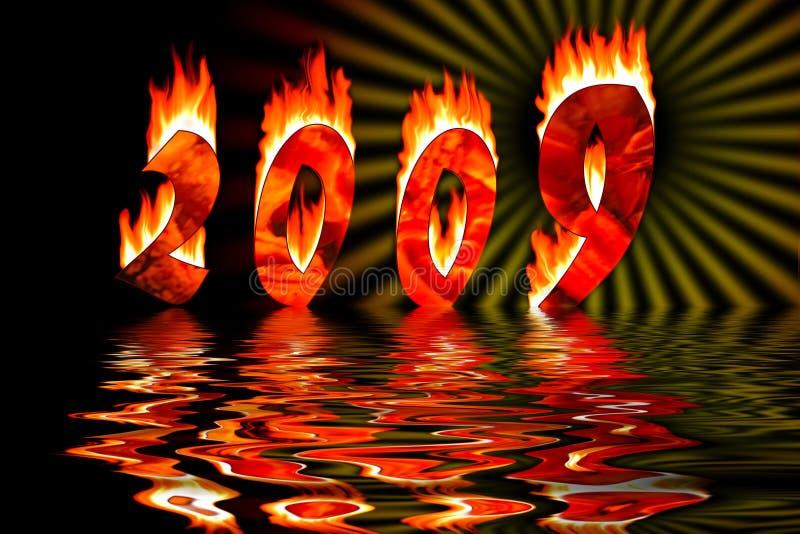 2009 aantallen in brand overstroming in water royalty-vrije illustratie