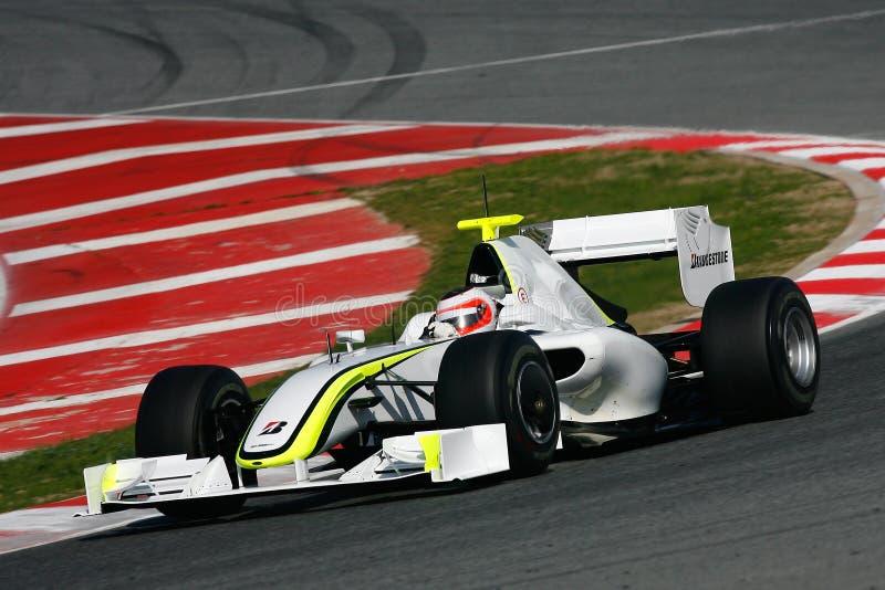 2009 barrichello brawn f1 gp rubens obraz stock