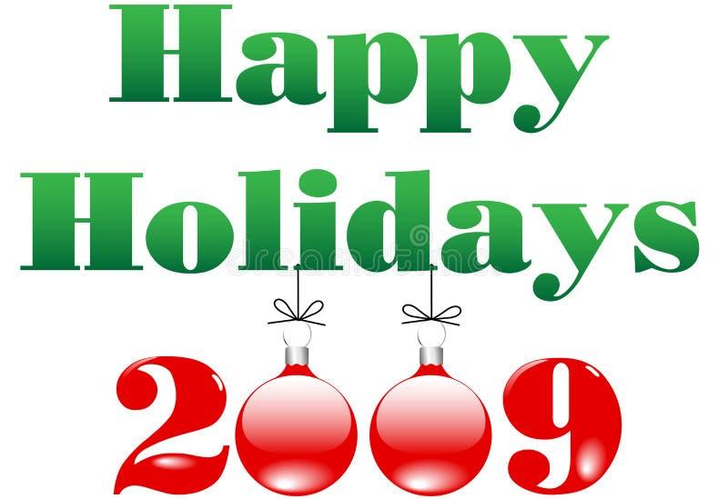 2009 bożych narodzeń szczęśliwych wakacji wesoło ornamentów ilustracja wektor