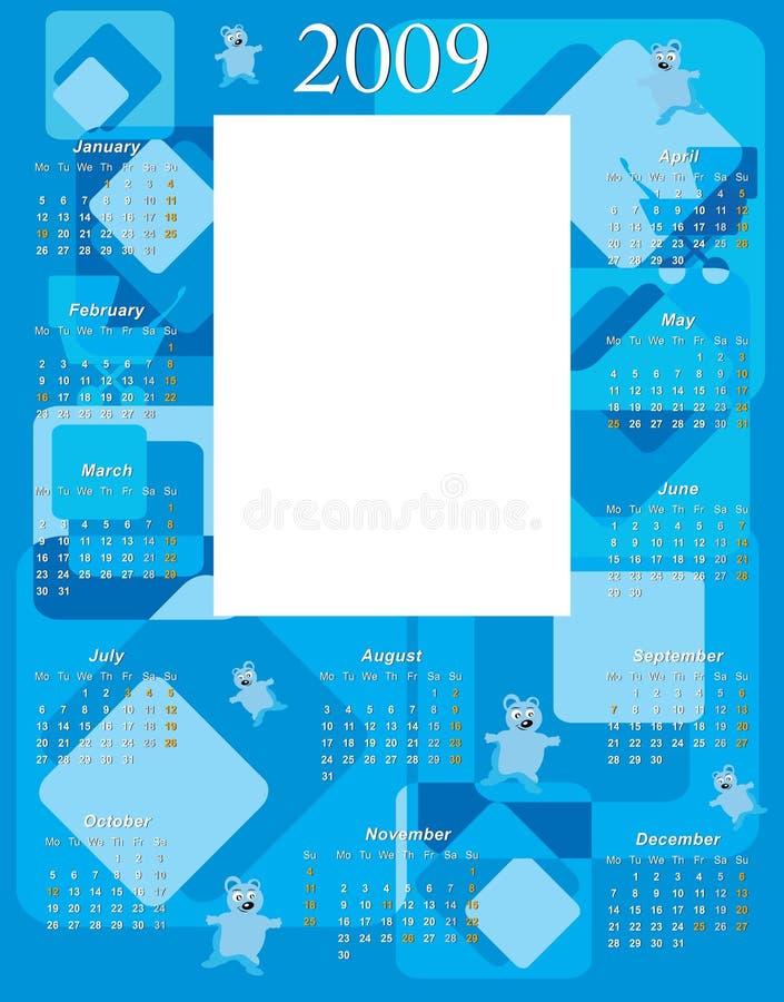 2009 chłopiec kalendarz royalty ilustracja