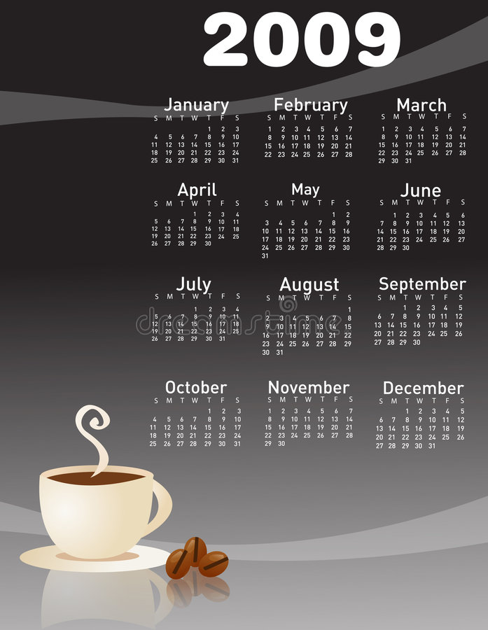 2009 coffee calendar royalty free stock photo
