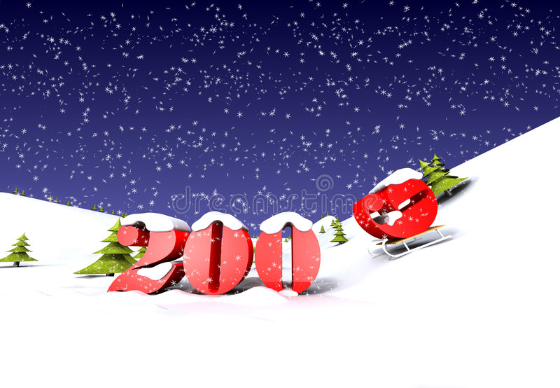 Download 2009 Is Cooming (with Snow) Royalty Free Stock Photo - Image: 7250895