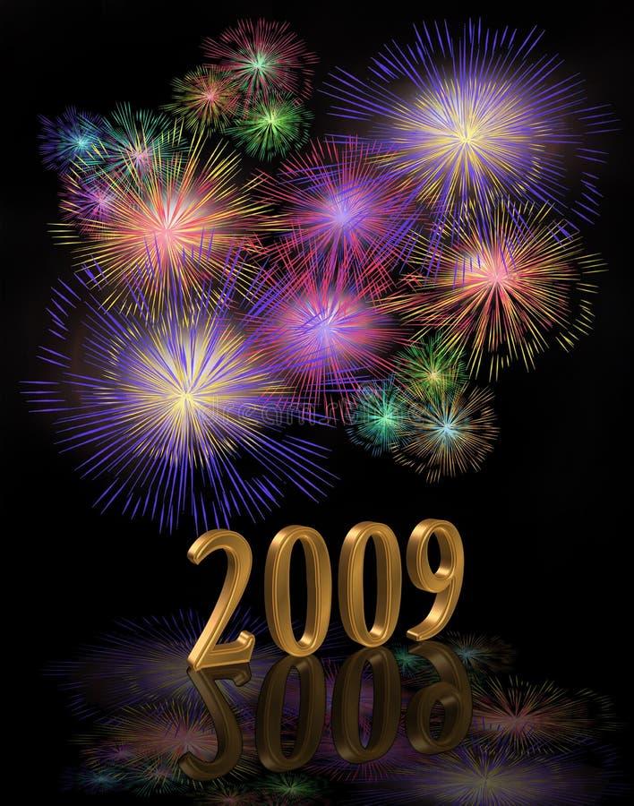 2009 da véspera anos novos de fogos-de-artifício de Digitas ilustração stock