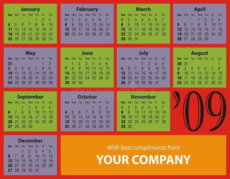 2009 daty kalendarzowej tabela top ilustracja wektor