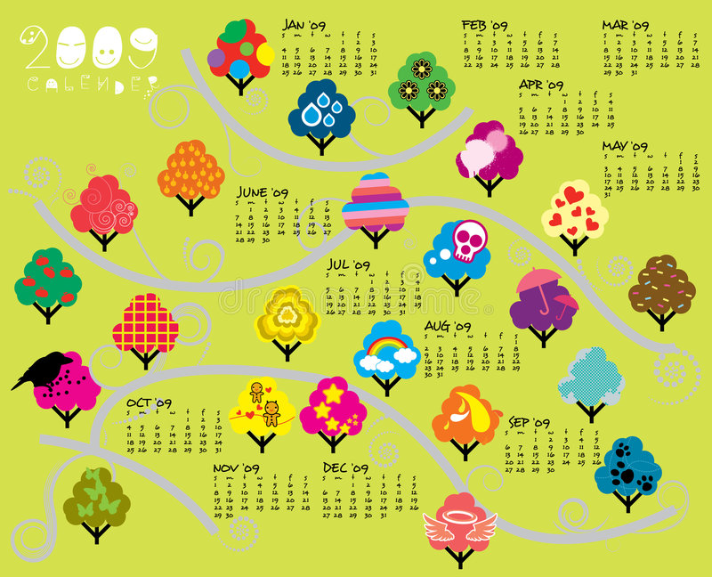 2009 de Kalender van bomen stock illustratie