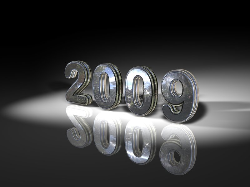 2009 en plata stock de ilustración