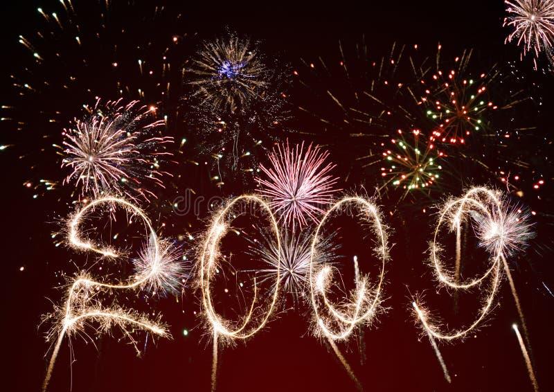 2009 fuegos artificiales celebradores y saludo ilustración del vector