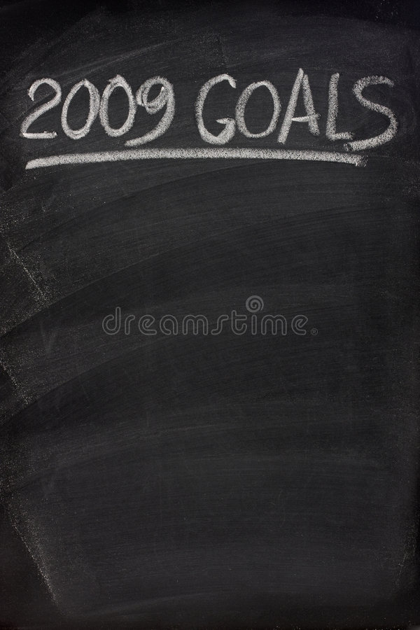 2009 goals title on blackboard royalty free stock photography