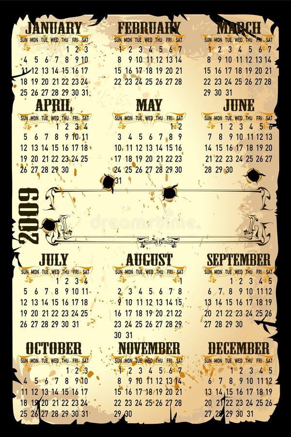 2009 ilustracja kalendarzowy wektor royalty ilustracja