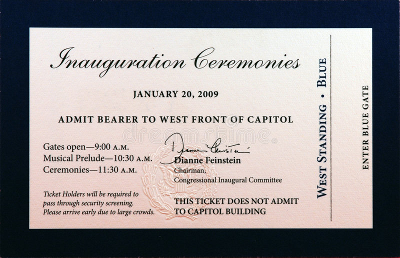 Download 2009 Inauguration Ceremonies Ticket Editorial Stock Photo - Image: 7783753