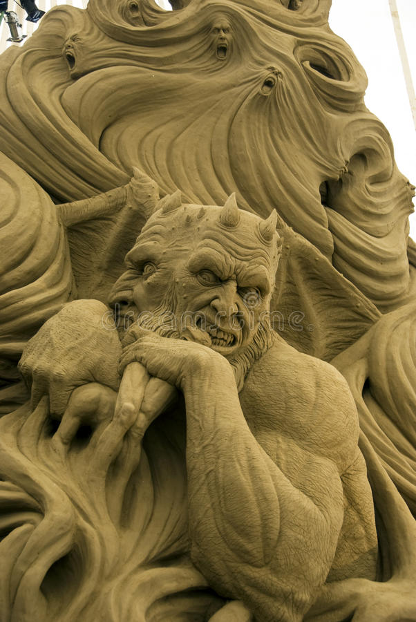 2009 International Festival of Sand Sculptures. The Judecca - Lucifer - 2009 International Festival of Sand Sculptures - Lido di Jesolo - Italy. 19 June - 31 royalty free stock photos