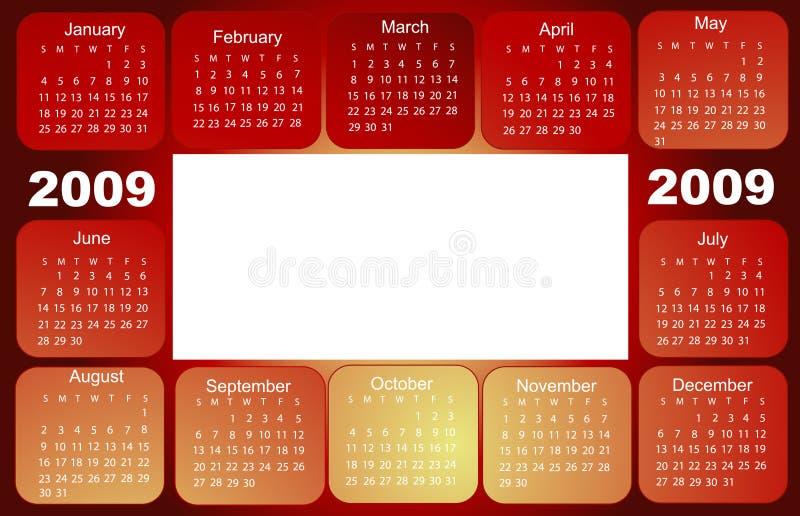 2009 kalendarz ilustracja wektor