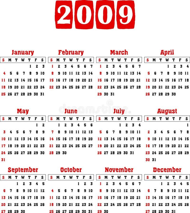 2009 kalendarza wektor royalty ilustracja