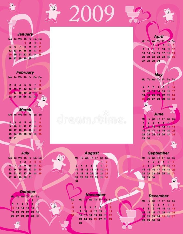 2009 kalendarzowa dziecko dziewczyna ilustracji