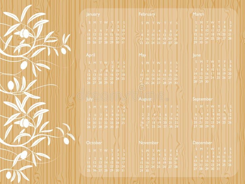 2009 kalendarzowy drewno ilustracji