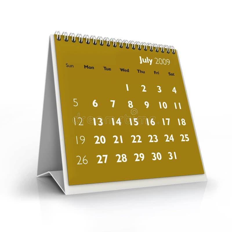 2009 kalendarzowy Lipiec ilustracja wektor
