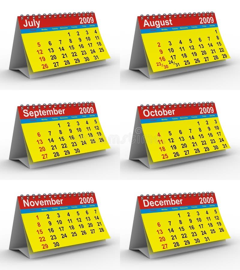 2009 kalendarzowych ustalonych rok ilustracja wektor