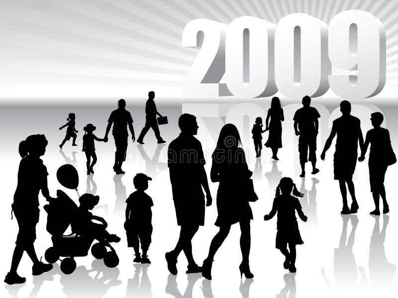 2009 nowy rok royalty ilustracja