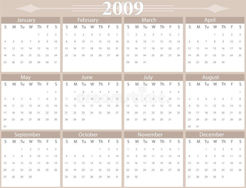 2009 rok kalendarzowy ilustracja wektor