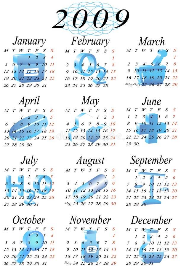 2009 rok kalendarzowy royalty ilustracja