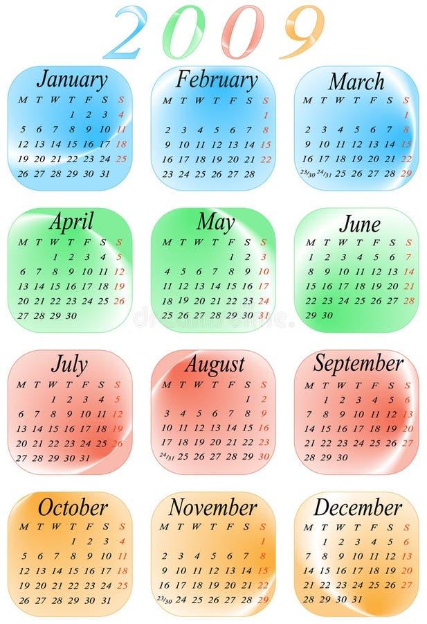 2009 roku kalendarzowego, ilustracja wektor