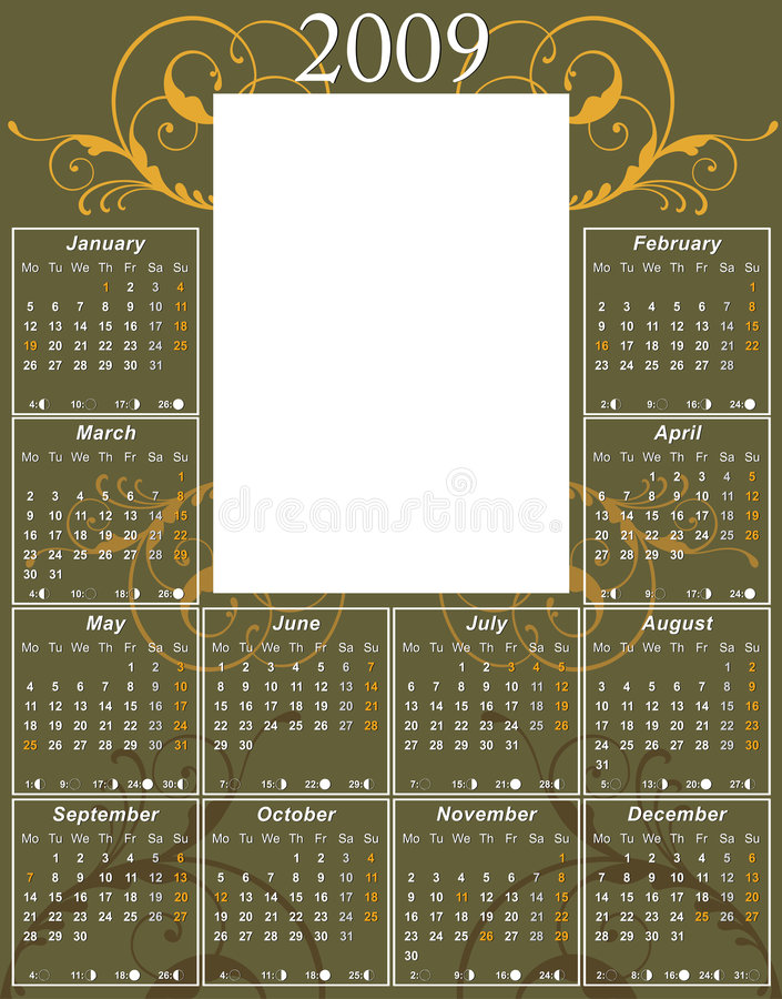 Free 2009 Swirl Calendar Royalty Free Stock Photography - 6192107