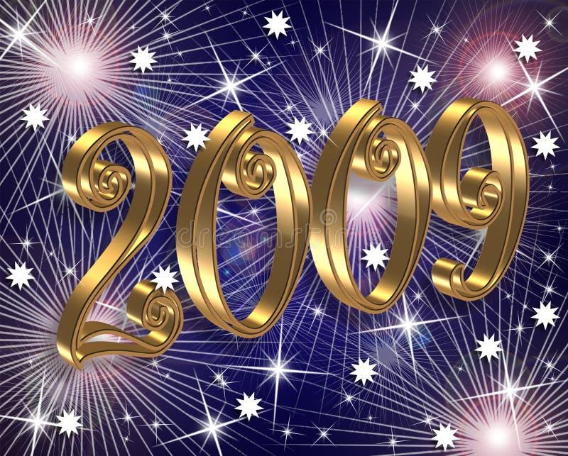 2009 tła cyfrowi fajerwerków nowy rok royalty ilustracja