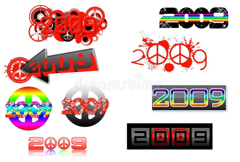 2009 temas de la serie-paz que ponen letras stock de ilustración