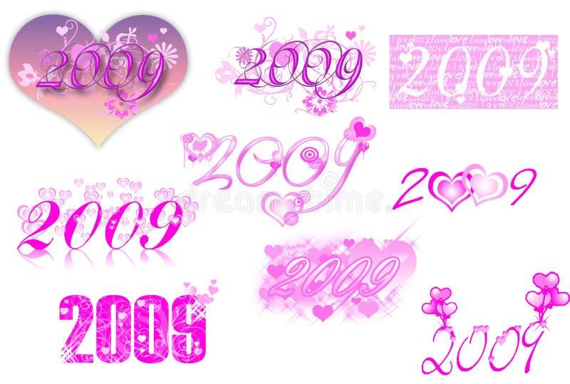 2009 temi d'iscrizione di serie-amore illustrazione vettoriale