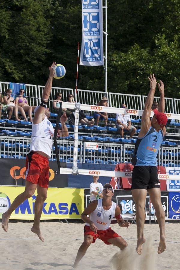 2009 torneo del voleo de la playa de FIVB CEV Lausanne foto de archivo
