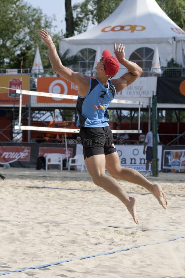 2009 torneo del voleo de la playa de FIVB CEV Lausanne imagenes de archivo