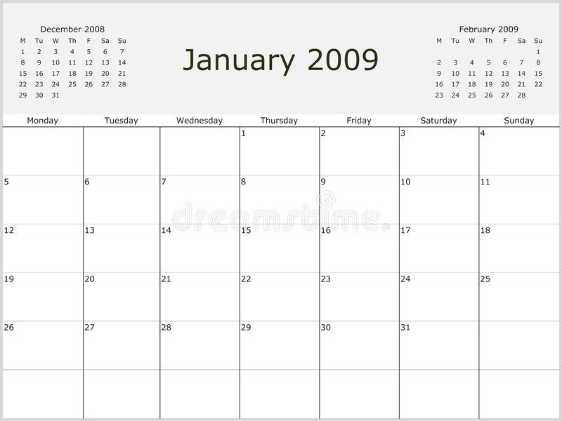 Calendar For 2007  2008  2009 And 2010 Stock Vector