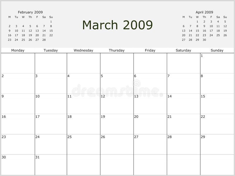 Download 2009 Year Monthly calendar stock illustration. Image of december - 7013871