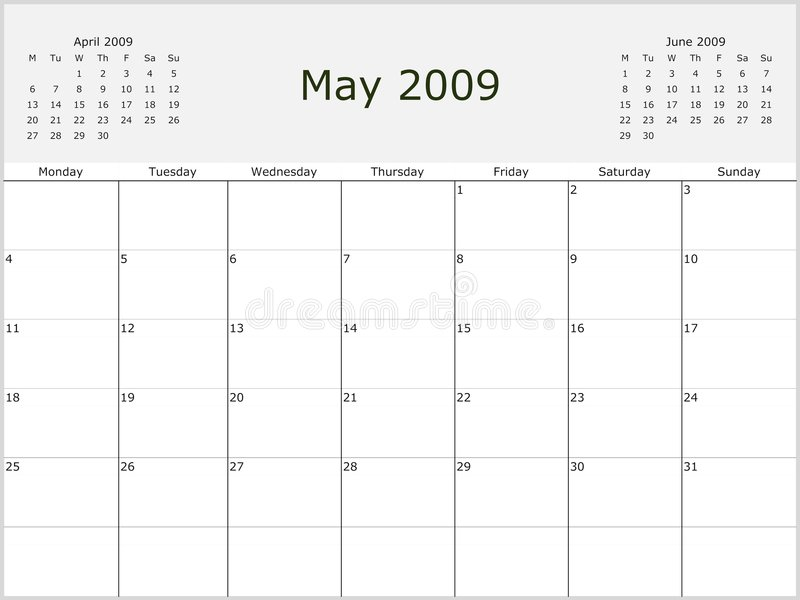 Download 2009 Year Monthly calendar stock illustration. Image of august - 7013874