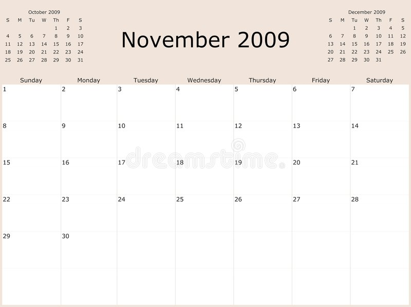 Download 2009 Year Monthly calendar stock illustration. Image of personal - 7013883