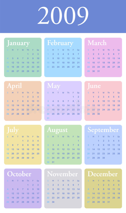 Download 2009 Yearly Calendar In Pastel Stock Vector - Image: 5079714