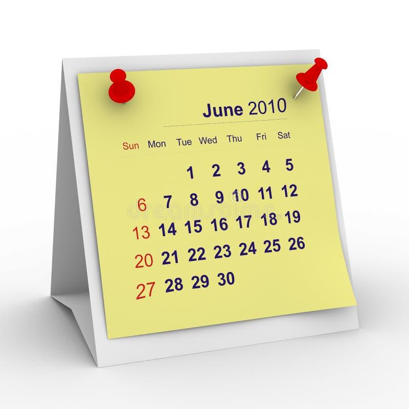 2010个日历6月年 向量例证