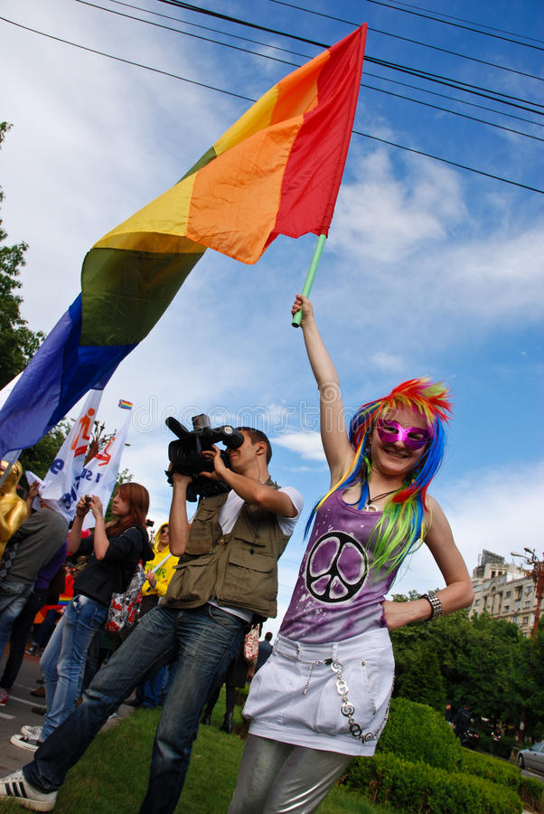 2010个fest同性恋游行参与者 免版税库存图片