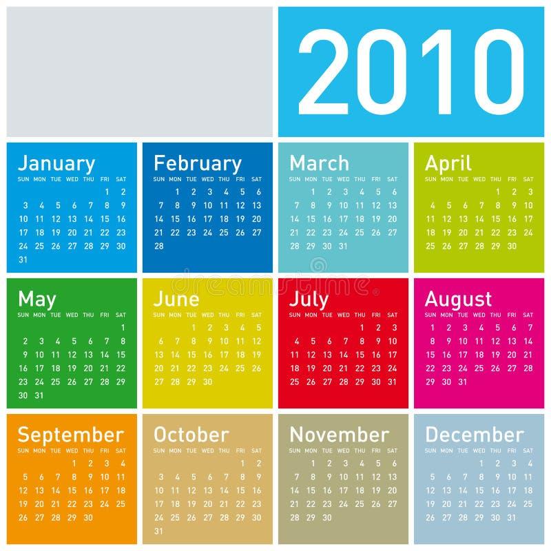 2010五颜六色的日历 皇族释放例证