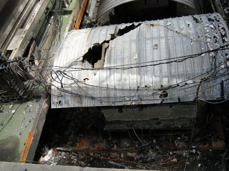 2010年曼谷损坏的红色暴乱衬衣界面 免版税库存照片