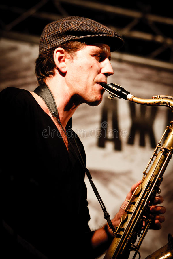2010年节日爵士乐koktebel保罗roges三重奏 图库摄影