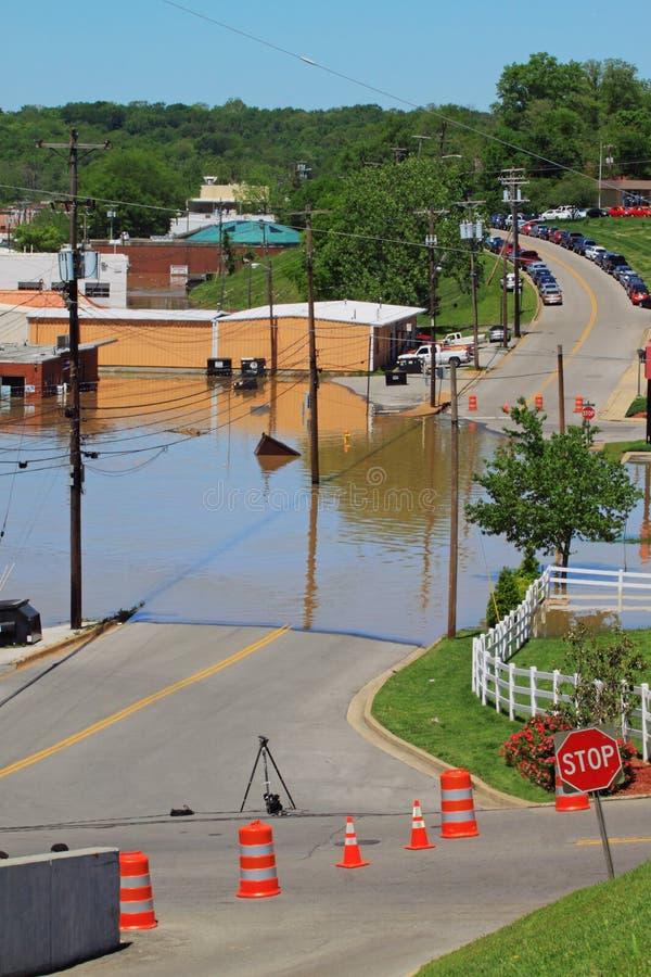 2010年clarksville洪水tn 库存照片