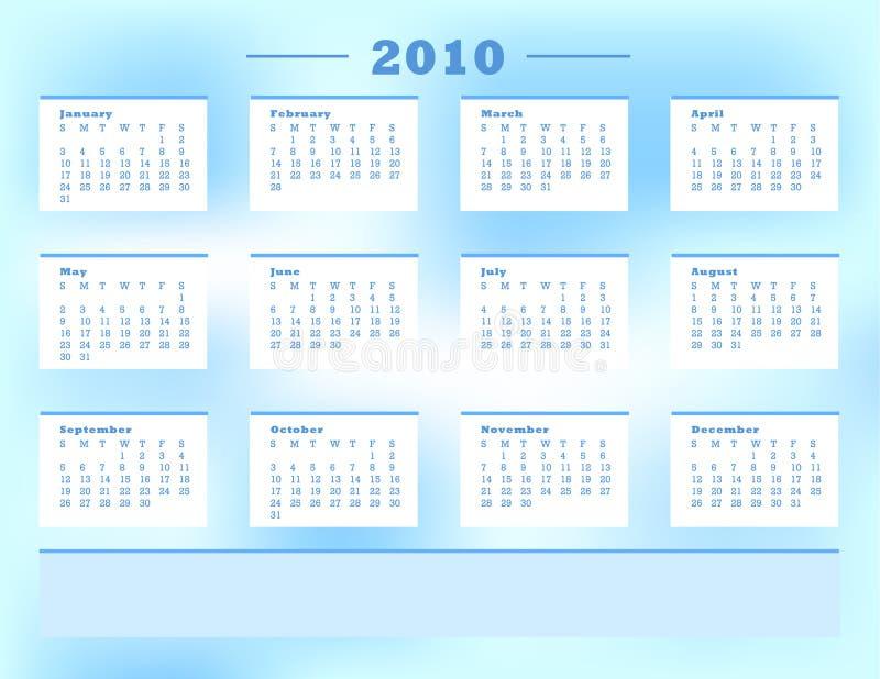 2010日历 向量例证