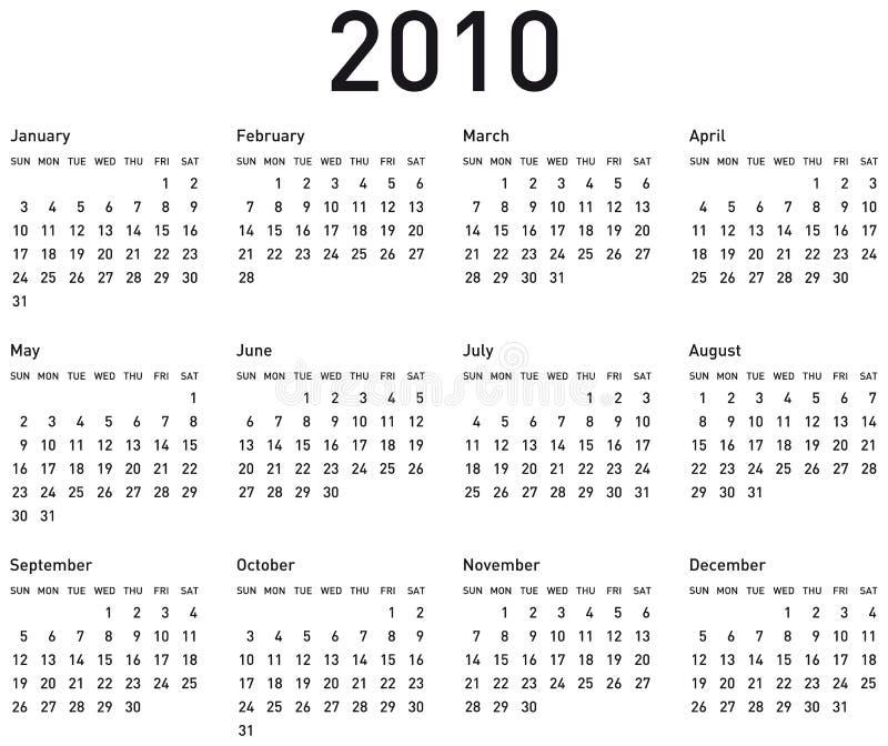 2010简单的日历 向量例证